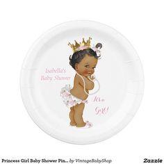 Corona del oro del rosa de la fiesta de bienvenida platos de papel