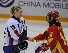 Players of China and Slovakia exchange team flags before their women ice hockey preliminary, the first match at the World Winter Universiade in the Harbin Ice Hockey Gym of Harbin, capital of northeast Chinas Heilongjiang Province, Feb. (Xinhua/Zhou Que) Women's Hockey, Soccer, Ice Hockey Players, Motorcycle Jacket, China, Female, Lady, Winter, Sports