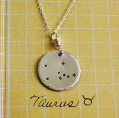 Mother's necklace for Lewin: Taurus constellation necklace, sterling silver necklace, taurus necklace, taurus sign, star necklace, constellation. $54.50, via Etsy.