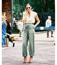 @Who What Wear - Jenna Lyons Tip 1: Unexpected Accessories + Feminine Blouse Image via Vanessa Jackman