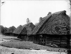 Samoan fale in the Manu'a island group, showing thatched roof and woven pola blinds, circa 1890 - 1910
