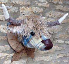 Handmade highland cow faux taxidermy blue tweed fabric wall mounted animal head