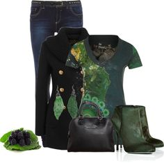 """Jeans and Green"" by thalianbaby67 ❤ liked on Polyvore"