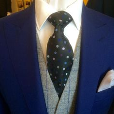 Royal blue Lt weight wool 3-piece suit with a silver grey & royal blue check…