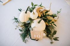 Available for Pittsburgh couples for Fall Rustic decor pumpkin centerpiece white pumpkins Pittsburgh wedding White Pumpkins Wedding, Pumpkin Wedding Decorations, White Pumpkin Centerpieces, White Pumpkin Decor, Fall Wedding Centerpieces, Floral Centerpieces, Table Centerpieces, Autumn Bride, Our Wedding