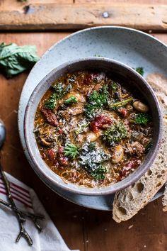 Crockpot Italian Chicken and Broccoli Rabe Chili | halfbakedharvest.com @hbharvest