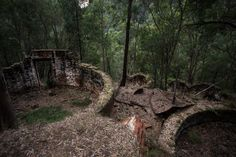 Newnes is an abandoned shale oil site in NSW, Australia.. These are the old oil washing tanks.