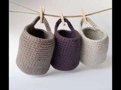 Ingeniosas cestas tejidas a crochet - YouTube