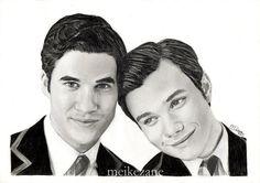 Darren Criss & Chris Colfer  'Klaine' drawing print by MeikeZ on Etsy