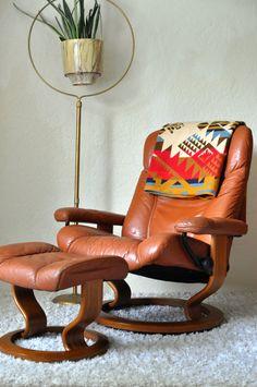 Vintage Ekornes Norway Leather Stressless Swivel by EuroFair