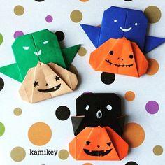 """カミキィ作のハロウィン折り紙の中で一番人気の「かぼちゃ&おばけ」両面折り紙でカラフルに作ってみました^ ^折り方はYouTube"""" kamikey origami""""チャンネルをご覧下さい。 Pumpkin & Ghost designed by me Tutorial on YouTube"""" kamikey origami"""" #折り紙#origami #ハンドメイド#kamikey#ハロウィン"""