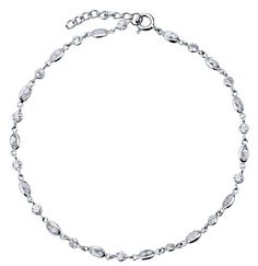 Sterling Silver 925 Multishape Cubic Zirconia CZ Anklet Ankle Bracelet from Berricle - Price: $46.99