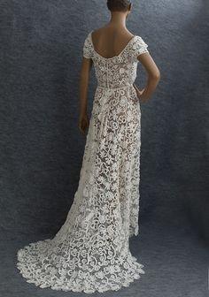 5bb01e373 Irish Lace Wedding Dress   Irish crochet lace wedding dress, c.1912, from