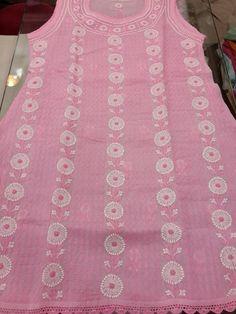 Exclusive Lucknow Chikan Pink Sleeveless Cotton Kurti with fine chikankari murri work & crochet work #chikankari $25.99