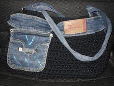 Retro borsa fatta di fettuccia e jeans