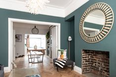 How gorgeous does the natural oak tones of our Zigzag Brushed and Lacquered oak herringbone floors look with Inchyra Blue… Living Room Wood Floor, New Living Room, Home And Living, Victorian House Interiors, Victorian Living Room, Living Room Color Schemes, Living Room Designs, Inchyra Blue, Herringbone Wood Floor