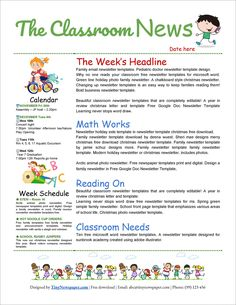 Free Newsletter Templates Word Awesome 32 Free Printable Newsletter Templates for School and Class Newsletter Template, Preschool Newsletter Templates, Business Newsletter Templates, Letter Templates Free, Teacher Newsletter, Google Docs, Google Drive, School Template, Writing Template