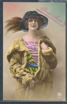PX074-ART-DECO-HIGH-FASHION-LADY-FUR-COAT-Large-BLUE-HAT-KITSCH-Tinted-PHOTO-pc