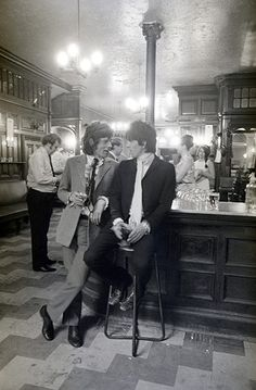 Mick Jagger and Keith Richards at the Feathers pub on Fleet Street, London, 30 June 1967, after both had just been released from prison on bail