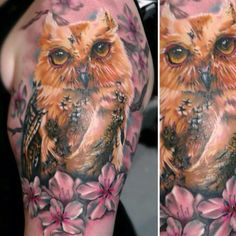 Gorgeous watercolor style floral owl tattoo by Brooke Hume
