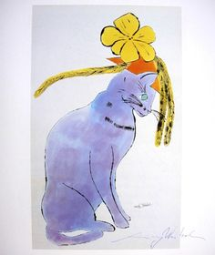 """Andy Warhol, """"Cat with hat"""" hand signed Print, 1969   - $ $ $                                                                                                                                                      More"""
