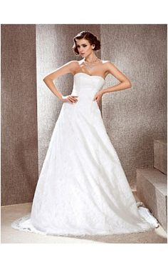 A-line/ Princes Sweetheart Court Train Lace Wedding Dress