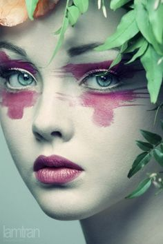 Photography by Lam Tran. #lam_tran #photography #women #faces #paint #green #magenta by leona
