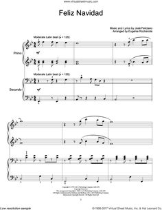 Feliciano - Feliz Navidad sheet music for piano four hands [PDF] Christmas Sheet Music, Piano Sheet Music, My Music, Lyrics, Pdf, Hands, Xmas, Piano Music