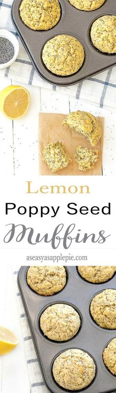 Lemon poppy seed muffins- moist, sweet, tangy and lemony. The best recipe for breakfast or as a snack! #breakfast #snack #muffins #lemons