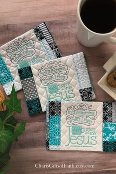 Teal, black and grey. Available at CharisGiftsofFaith.etsy.com #mugrug #coffeelovergift #Christiangift #Charis Christian Gifts For Women, Christian Friends, Gift Of Faith, Give It To Me, Just For You, Give Me Jesus, Embroidered Gifts, Welcome Gifts