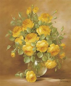 Yellow rose bouquet in clear vase Art Floral, Flower Vases, Flower Art, Rose Pictures, Rose Art, Container Flowers, Vintage Flowers, Yellow Flowers, Beautiful Flowers