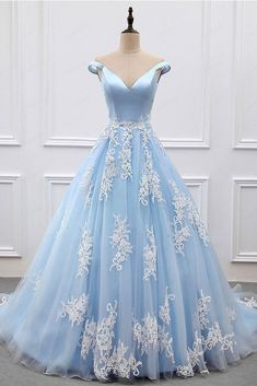 Sky Blue Appliques Charming 2018 Prom Dresses,Prom Dresses,Formal Women Dress,prom dress F54 by Cocopromdress, $175.00 USD