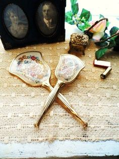 Tapestry Vanity Set-Hand Mirror & Brush-Dressing Table Mirror-Hairbrush-Ladies Vanity Accessories-Gold  Filigree-Orphaned Treasure-070616E by OrphanedTreasure on Etsy