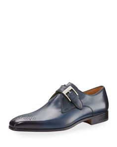 Magnanni for Neiman Marcus Hand-Antiqued Leather Buckled Oxford, Blue