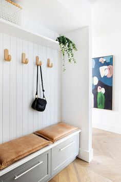 Our brand new Winter 2019 issue is all about small homes and smart storage solutions - like this clever little mudroom designed by… Smart Storage, Closet Storage, Foyer Storage, Joop Living, Laundry Room Organization, Small Laundry, Room Goals, Banquette, House Entrance