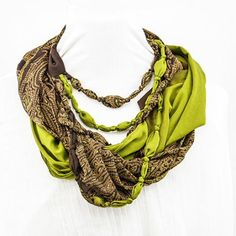 Eternal Beaded Scarf (Lush Rainforest) made from vintage sarees