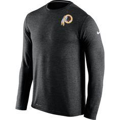 Men's Washington Redskins Nike Black Dri-FIT Touch Long Sleeve Performance T-Shirt