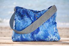 OFFSHORE BAGS  Ocean Wave Blue Denim Shoulder Bag Handmade & Hand Dyed LT Resortwear