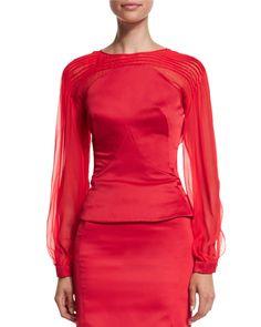 Zac Posen Pleated Long-Sleeve Top & High-Waist Pencil Skirt