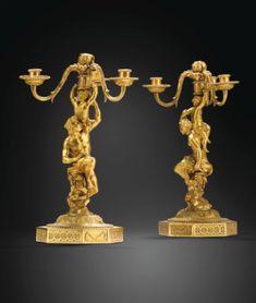 Paire de candélabres formant flambeaux en bronze doré d'époque Louis XVI, d'après un modèle de Corneille Van Clève - Sotheby's
