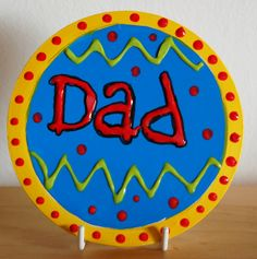 Handpainted DIY personalised Coaster for Dad on Father's Day.  Bisque pottery painted with acrylics and varnished. Great personalised gift. Decorate with Duncan Concepts Underglaze or DecoArt acrylic paints. #FathersDay #GiftsForDad