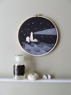 BEACON tiny wood houses on hoop Neutral art por InLittleHouses Nursery Paintings, Nursery Wall Art, Art Pariétal, Neutral Art, Rock And Pebbles, Wooden Hoop, Homewares Online, Diy Embroidery, Easy Diy Crafts
