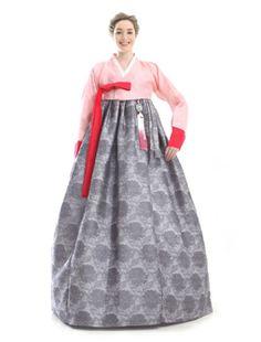 Custom Made Silk Pink Grey Long Hanbok Traditional Korean Dress
