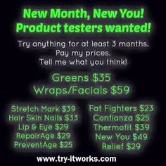 Product Testers Wanted   message me on FB for details  https://www.facebook.com/pages/Try-IT-Works/1652067945024218