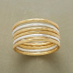 MOONLIGHT TO SUNSHINE RINGS, SET OF 6 -- Six slender, organically wrought bands, two in luminous sterling silver, four in sunny 18kt gold vermeil, all matte finished. Exclusive. Whole sizes 5 to 9.