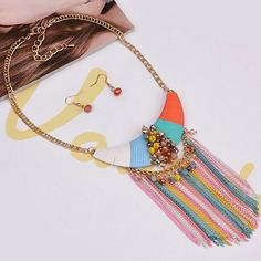 Multicolored Tassels in Choker Necklace