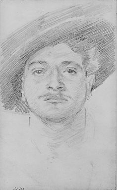 "John Singer Sargent (American, 1856–1925). ""Man in a Hat,"" 1880–82. Graphite on off-white wove paper. Met Museum of Art, New York."