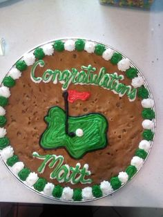 Golf themed Congratulations Cookie Cake! #nestle #nestletollhousecafe #nestletollhouse #cookie #cake #cookiecake #yum