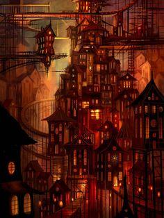 Steampunk City, Arte Steampunk, Fantasy Town, Fantasy World, Illumination Art, Corel Painter, Fantasy Setting, Fantasy Landscape, Environmental Art
