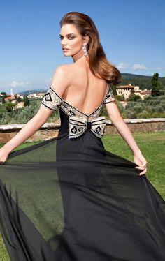Tarik Ediz - Beaded Off-The-Shoulder Neck Gown 92628 in Black